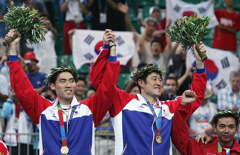 Dong Moon Kim and Tae Kwon Ha, winners of the Gold medal. during the men