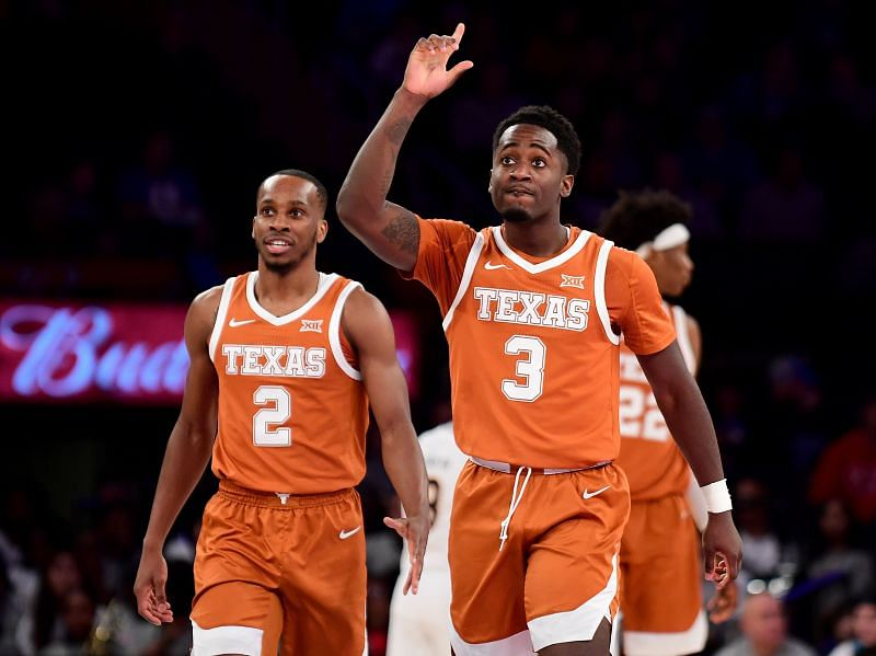 Courtney Ramey of the Texas Longhorns reacts.