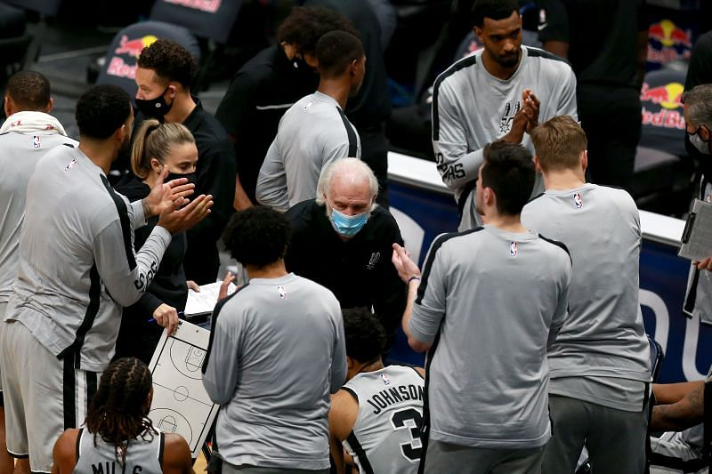 Head coach Gregg Popovich of the San Antonio Spurs instructs his team during an NBA game against the New Orleans Pelicans