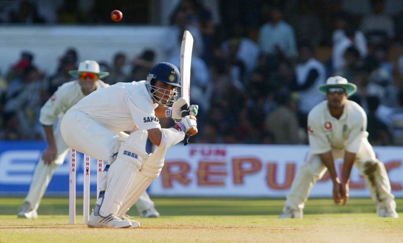 Sourav Ganguly ducks a bouncer during his playing days.