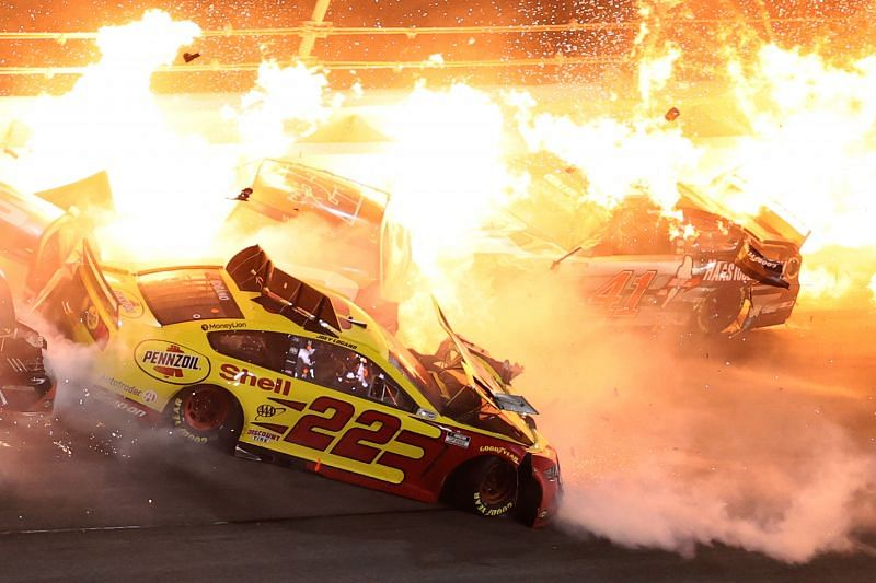 Joey Logano and others are involved in a fiery crash on the last lap of the Daytona 500. Photo/Getty Images