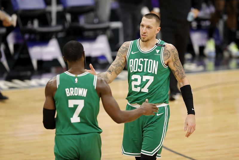 Daniel Theis #27 congratulates Jaylen Brown #7 of the Boston Celtics after he made a shot against the Sacramento Kings at Golden 1 Center on February 03, 2021 in Sacramento, California. (Photo by Ezra Shaw/Getty Images)