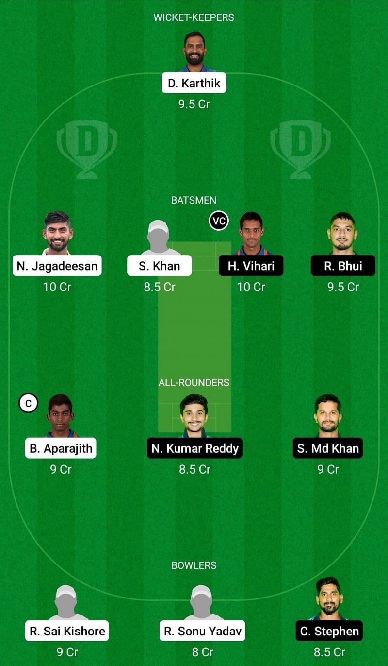 Dream11 Team for Tamil Nadu vs Andhra - Vijay Hazare Trophy.