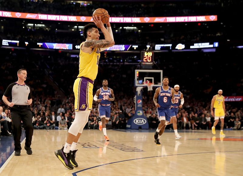 Danny Green shoots a three for the LA Lakers against the New York Knicks in the 2019-20 NBA season