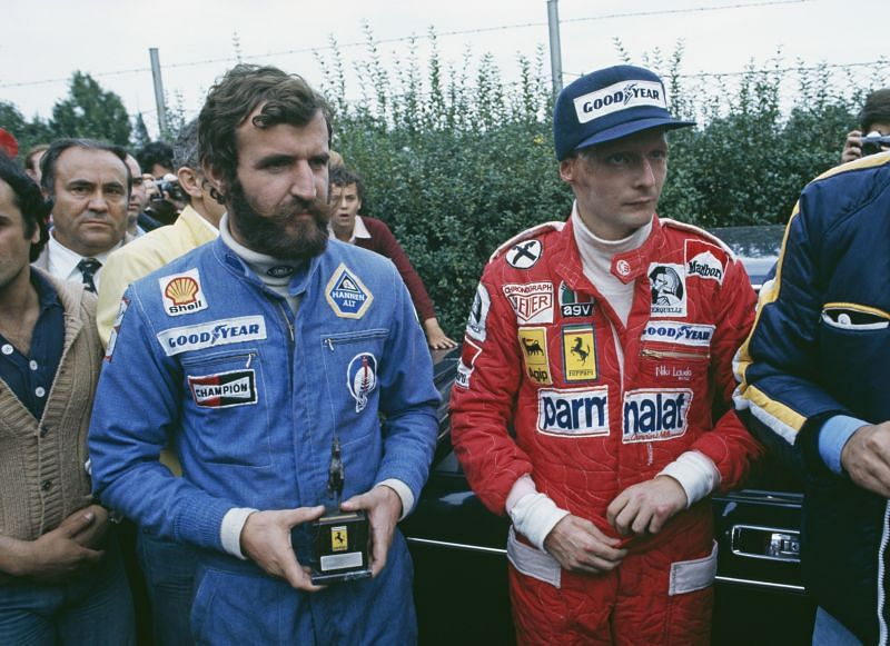 Lauda (right) with Harald Ertl during the Italian Grand Prix, 1976.