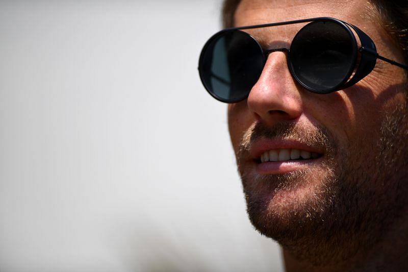 Romain Grosjean keeps cool in Baku. (Photo by Clive Mason/Getty Images)