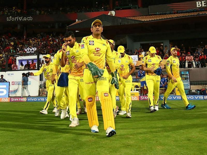Team CSK led by MS Dhoni