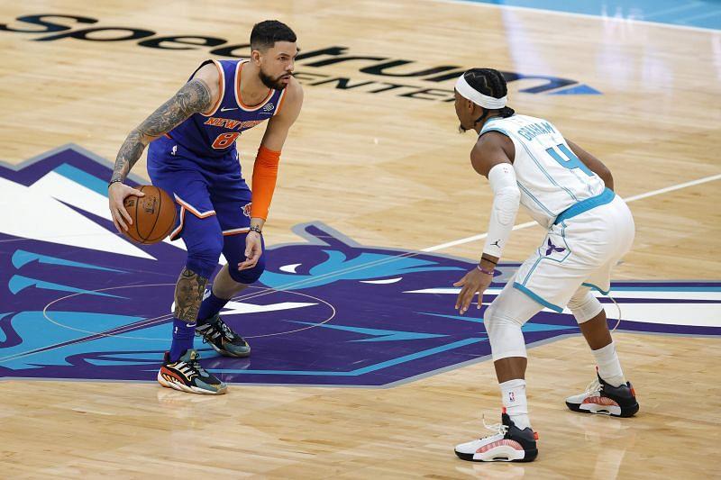 Austin Rivers (#8) of the New York Knicks