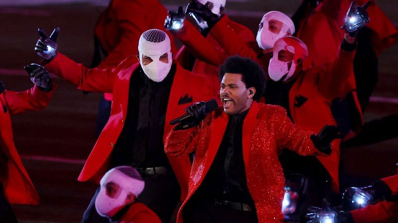 The Weeknd put up quite the show at the NFL Super Bowl halftime show (Image via Getty Images)