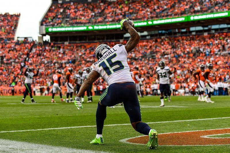 Marshall. scoring a TD for the Seattle Seahawks v Denver Broncos