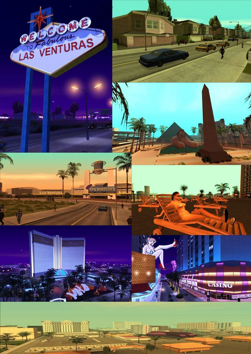 Las Venturas has several structures and elements that players associate with Las Vegas (Image via GTA Wiki)