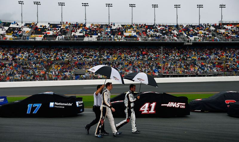 Umbrellas were the order of the day at the 2021 Daytona 500. (Photo by Tom Pennington/Getty Images)