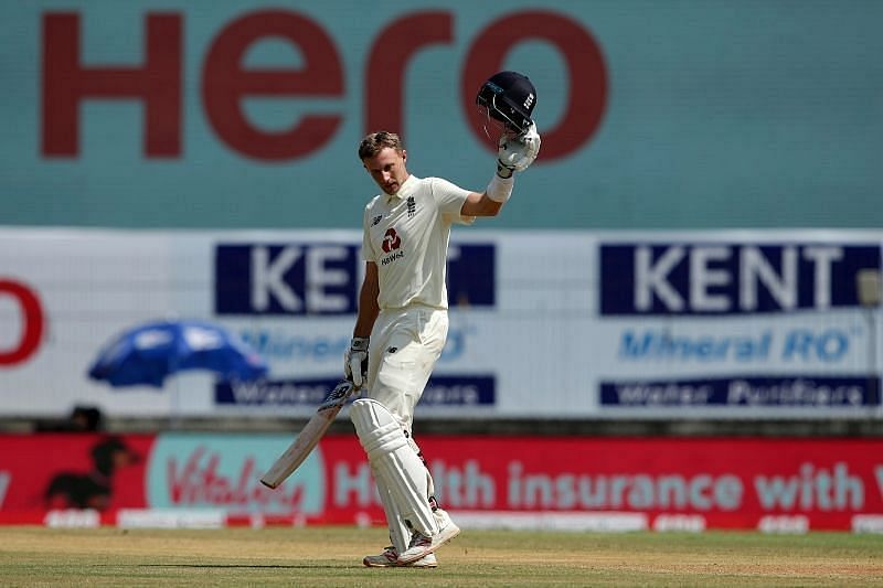 Joe Root celebrates after reaching his double century