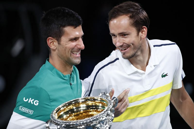 Novak Djokovic and Daniil Medvedev during the presentation ceremony at the 2021 Australian Open