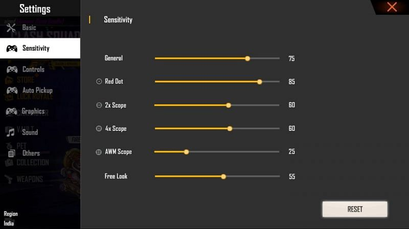 Sensitivity settings