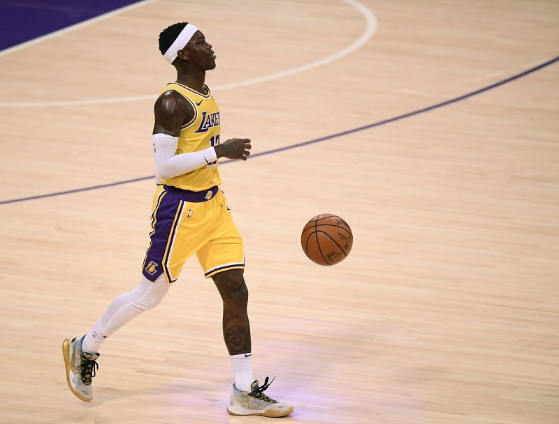 Dennis Schroder #17 of the Los Angeles Lakers dribbles during a 115-107 Portland Trail Blazers win at Staples Center on December 28, 2020 in Los Angeles, California. (Photo by Harry How/Getty Images)