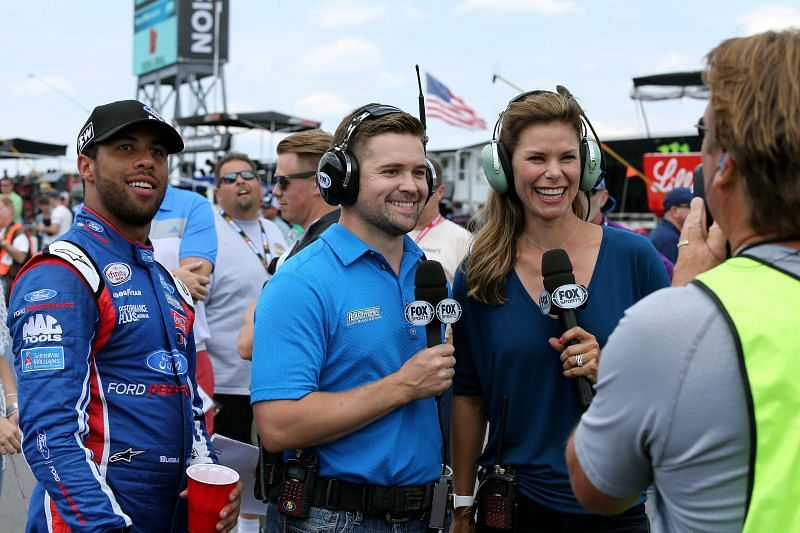 Fox pit reporter Jamie Little with NASCAR drivers Ricky Stenhouse Jr. and Bubba Wallace. Photo/Getty
