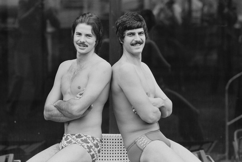 Scottish swimmer David Wilkie and American swimmer Mark Spitz in April 1978.