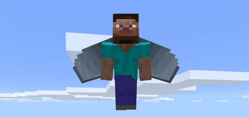 Steve flying with an Elytra in Minecraft. (Image via mcpedl.com)