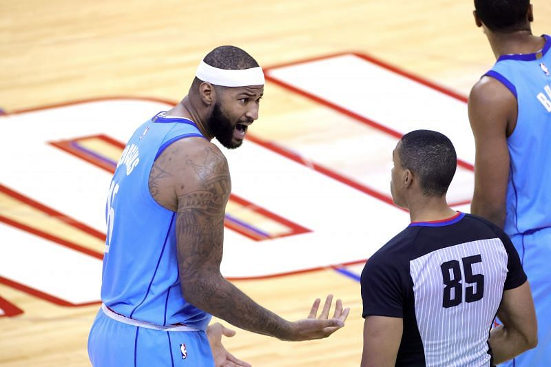 DeMarcus Cousins #15 of the Houston Rockets argues with referee Robert Hussey #85 during the fourth quarter of a game against the Washington Wizards at Toyota Center on January 26, 2021 in Houston, Texas. (Photo by Carmen Mandato/Getty Images)