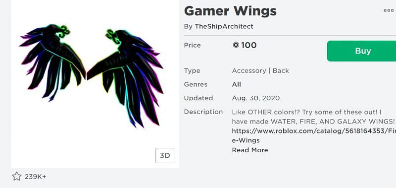The Gamer Wings back accessory from the Roblox Avatar Shop (Image via Roblox.com)