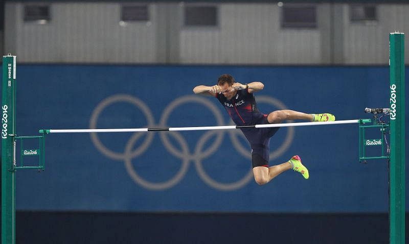 Renaud Lavillenie competes in the Men