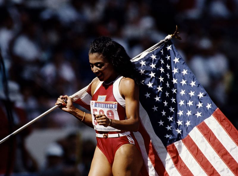 Florence Griffith Joyner with the United States flag