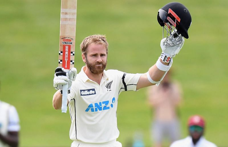 Kane Williamson celebrates after reaching his double hundred against West Indies