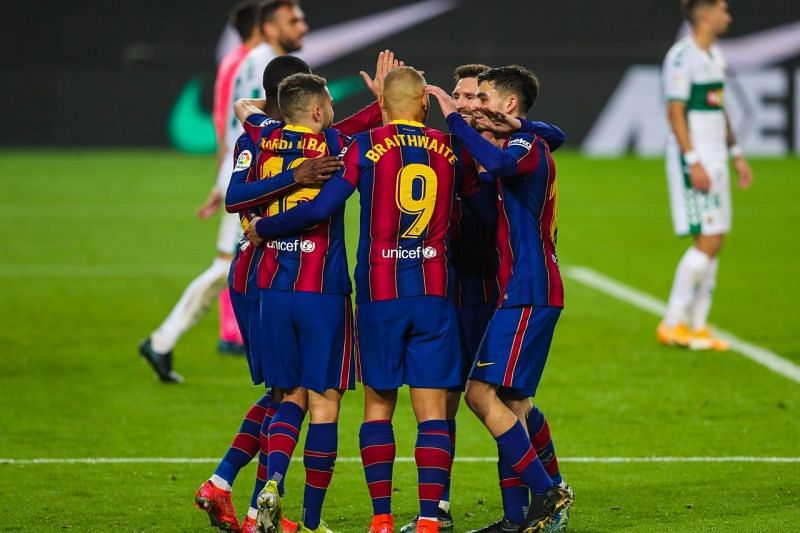 Barcelona scored three goals in the second half against Elche.