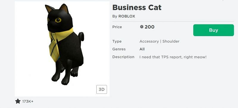 The Business Cat shoulder accessory on the Roblox Avatar Shop (Image via Roblox.com)