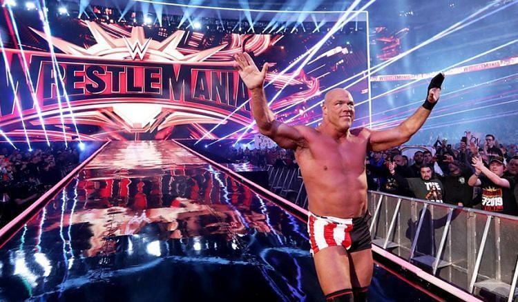 Kurt Angle at WrestleMania 35.