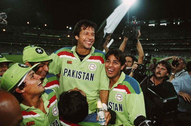 Imran Khan after winning the 1992 World Cup