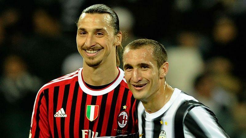 Zlantan Ibrahimovic and Giorgio Chiellini