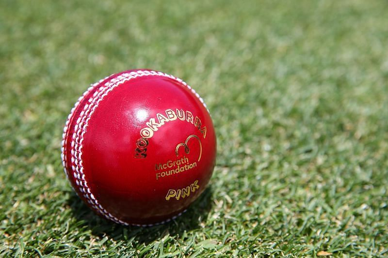 The pink Test ball