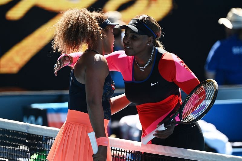 Naomi Osaka (L) and Serena Williams after their Australian Open 2021 semifinal