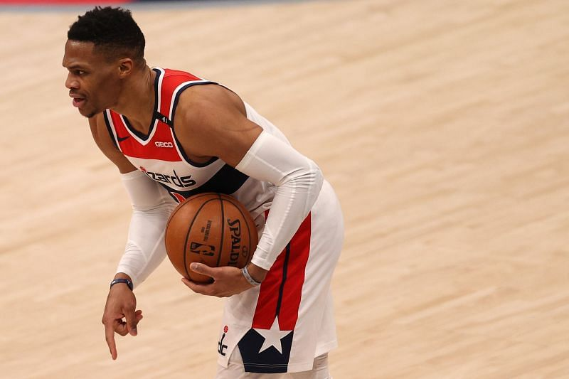 Russell Westbrook #4 of the Washington Wizards looks to pass against the New York Knicks during the first half at Capital One Arena on February 12, 2021