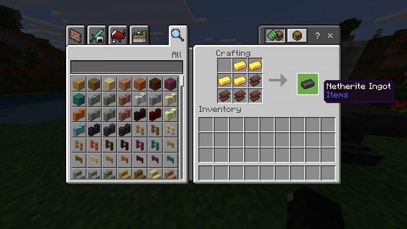 Crafting netherite ingot in minecraft