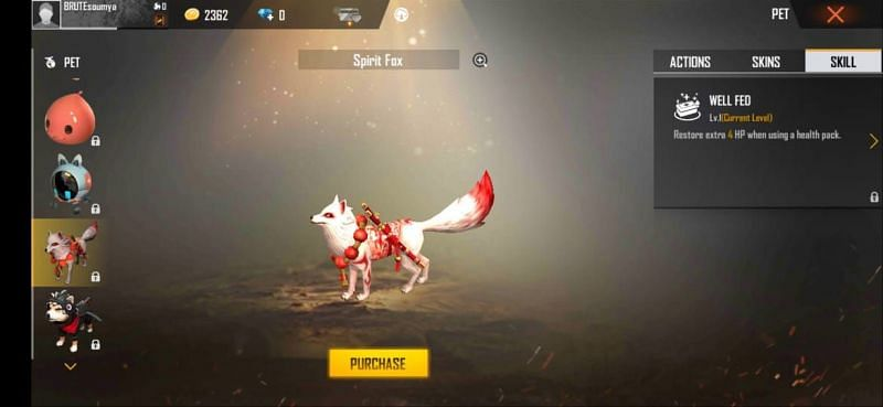 Spirit Fox in Free Fire