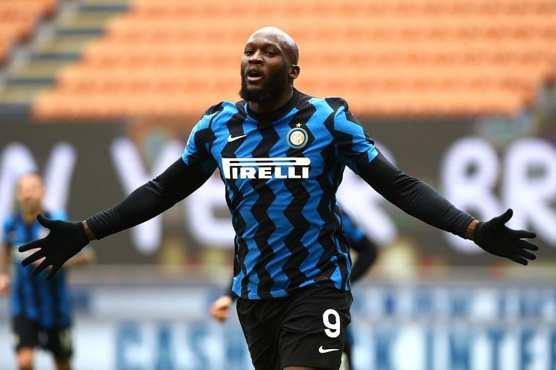 Romelu Lukaku celebrates after scoring a goal for Inter Milan.