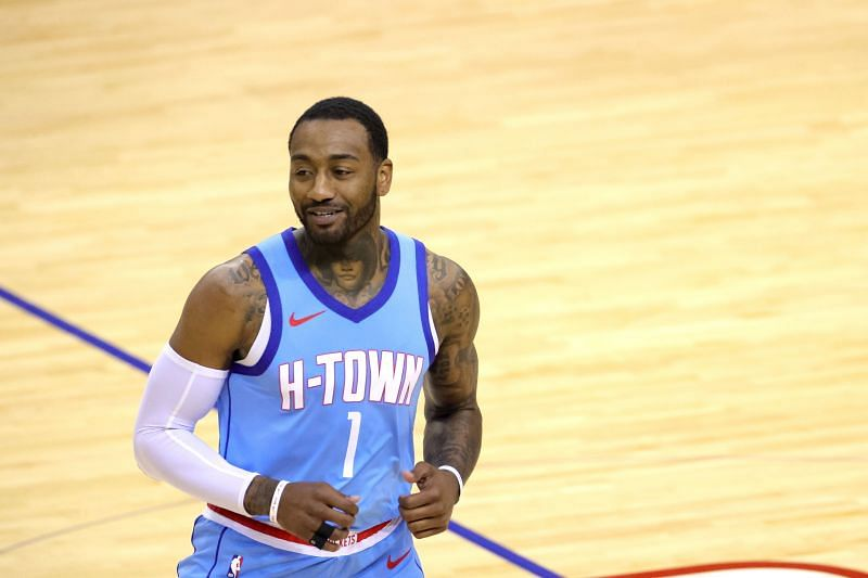 John Wall of the Houston Rockets in action during a game against the Washington Wizards at Toyota Center
