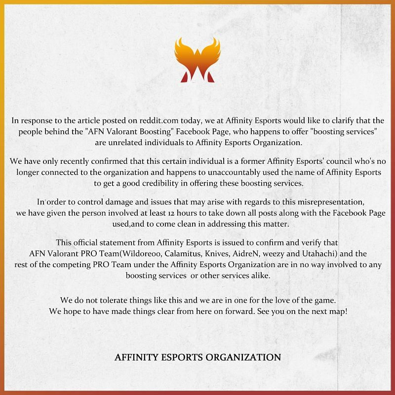 Official clarification statement by Affinity Esports (Image via Affinity Esports)