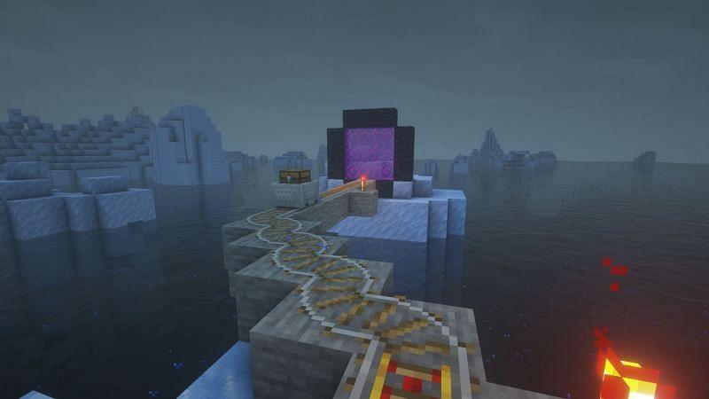A working interdimensional railway (Image via Minecraft)