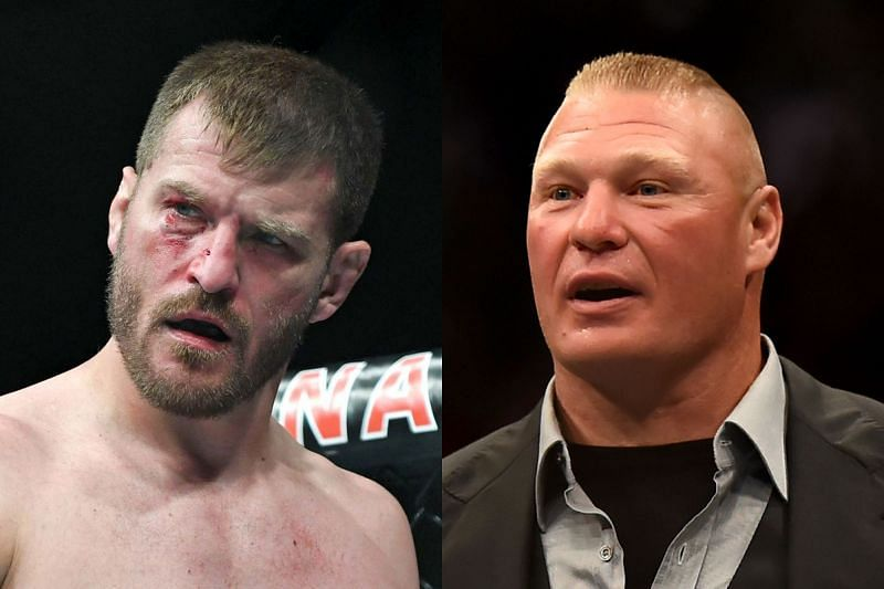 Stipe Miocic (L) did not get an opportunity to express his thoughts in the post-fight interview following Brock Lesnar