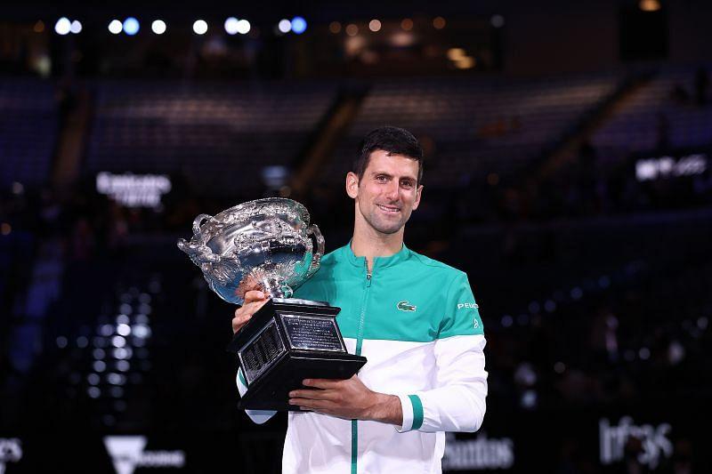 Novak Djokovic at the 2021 Australian Open