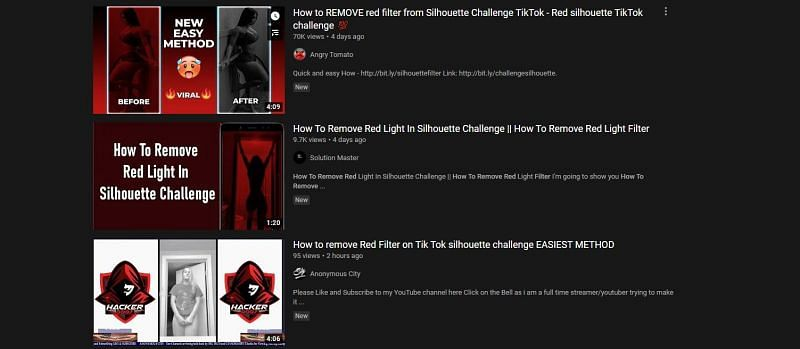 How To Remove Red Filter Videos On Youtube Pose A Significant Threat To The Silhouette Challenge On Tiktok