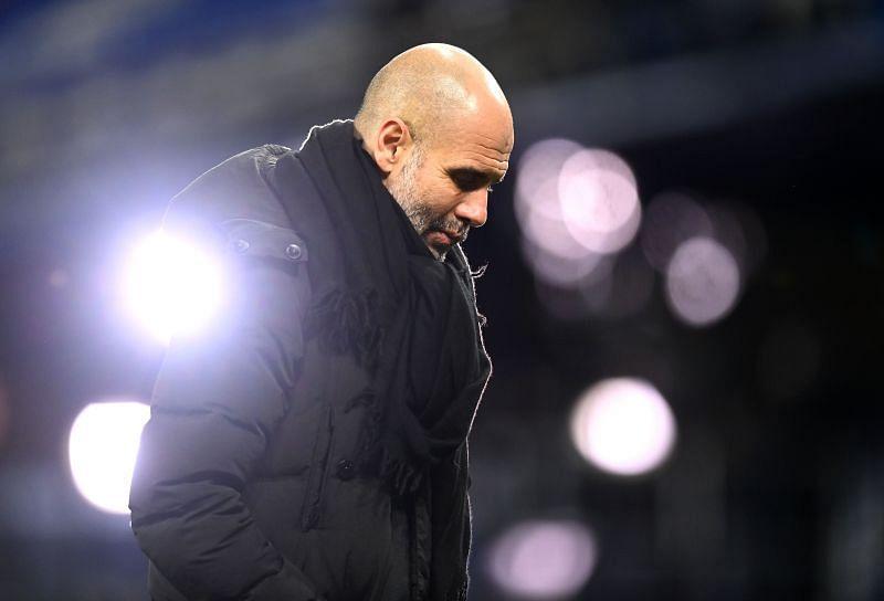 Pep Guardiola during the Everton v Manchester City - Premier League