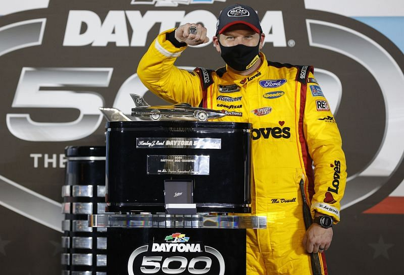 Michael McDowell celebrates his maiden Daytona 500 win. Photo: Getty Images