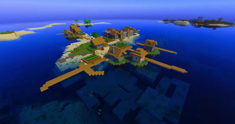 A quaint island village in Minecraft (Image via Minecraft & Chill/YouTube)