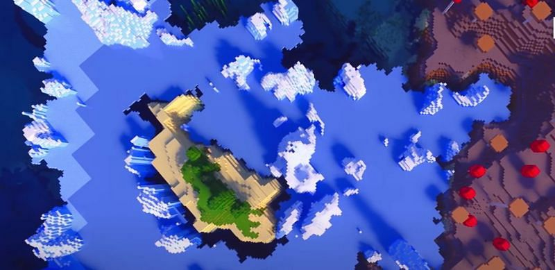 An island trapped in the middle of ice spikes and snow (Image via Minecraft & Chill/YouTube)