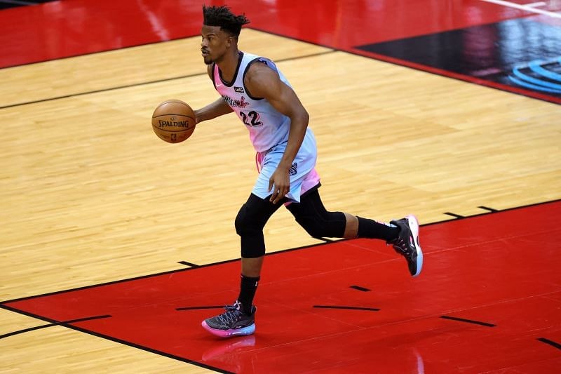 Jimmy Butler #22 of the Miami Heat in action against the Houston Rockets during a game at the Toyota Center on February 11, 2021 in Houston, Texas. (Photo by Carmen Mandato/Getty Images)